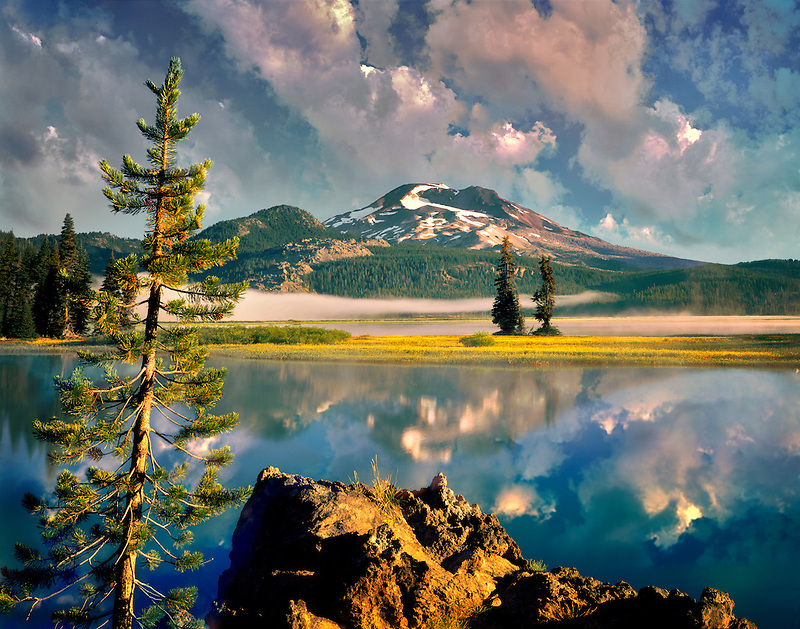 South Sister Mountain and Sparks Lake with wildflowers.