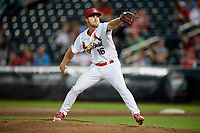 Springfield Cardinals relief pitcher Kevin Herget (16) delivers a pitch during a game against the Corpus Christi Hooks on May 30, 2017 at Hammons Field in Springfield, Missouri.  Springfield defeated Corpus Christi 4-3.  (Mike Janes/Four Seam Images)