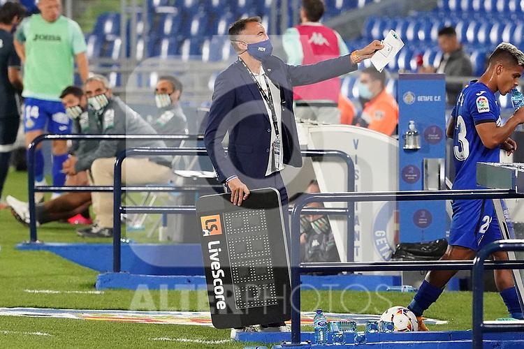 Getafe CF's delegate Enrique Mejuto Gonzalez during La Liga match. September 29,2020. (ALTERPHOTOS/Acero)