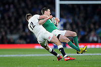 Jonathan Sexton, FEBRUARY 27, 2016 - Rugby : Jonathan Sexton of Ireland is tackled around the neck by Owen Farrell of England during the RBS 6 Nations match between England and Ireland at Twickenham Stadium, London, United Kingdom. (Photo by Rob Munro)