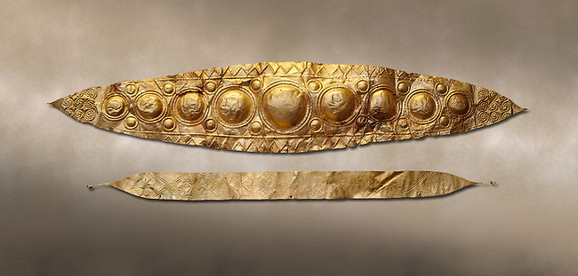 Mycenaean Gold diadems from Grave IV, Grave Circle A, Myenae, Greece. National Archaeological Museum Athens. 16th Cent BC.<br /> <br /> Top: Mycenaean Gold diadem with repousse circles and rosettes Cat No 232<br /> <br /> Bottom: Elegant Mycenaean gold daidem with fastening loops and dotted decoration. Three diamond shaped pendant hung from chains. Cat no 236.