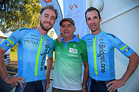 Event organiser Jorge Sandoval (centre) with 2018 winner Hayden McCormick (left) and 2017 winner Joe Cooper. 2019 Grassroots Trust NZ Cycle Classic UCI 2.2 Tour at St Peter's School in Cambridge, New Zealand on Tuesday, 22 January 2019. Photo: Dave Lintott / lintottphoto.co.nz