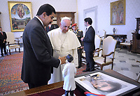Pope Francis meets  Venezuelan President Nicolas Maduro during a private audience in the pontiff's library on June 17, 2013 at the Vatican.