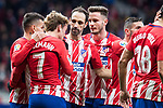 Atletico de Madrid Antoine Griezmann, Angel Martin Correa, Juanfran Torres and Saul Niguez celebrating a goal during La Liga match between Atletico de Madrid and Leganes at Wanda Metropolitano Stadium in Madrid , Spain. February 28, 2018. (ALTERPHOTOS/Borja B.Hojas)