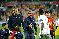 Lucas NEILL (2) of Australia shakes hands with Osama HAWSAWI (3) of Saudi Arabia during the FIFA 2014 World Cup Group D Asian Qualifier match between Australia and Saudi Arabia at AAMI Park in Melbourne, Australia...This image is not for sale on this web site. Please contact Southcreek Global Media for licensing:.Toll Free: 1.800.934.5030.Canada: 701 Rossland Rd. East, Suite 315, Whitby, Ontario, Canada, L1N 9K3.USA: 10792 Baron Dr, Parma OH, USA 44130.Web: http://southcreekglobal.net/ and http://southcreekglobal.com/