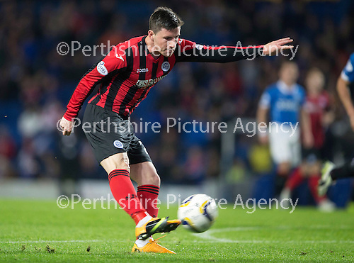 Rangers v St Johnstone....28.10.14   Scottish League Cup Quarter Final at Ibrox<br /> Michael O'Halloran blasts his shot high and wide after getting through on goal<br /> Picture by Graeme Hart.<br /> Copyright Perthshire Picture Agency<br /> Tel: 01738 623350  Mobile: 07990 594431
