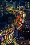 The head- and tail-lights streak along a Shinjuku freeway, Tokyo, Honshu, Japan.<br /> <br /> Canon EOS-1DS, EF70-200mm f/2.8 lens, f/13 for 25 seconds, ISO 50
