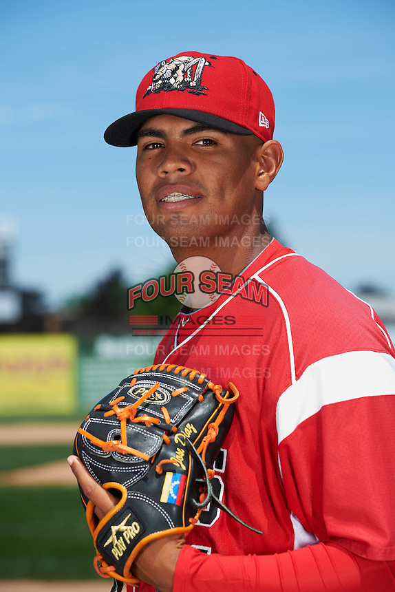 Batavia Muckdogs pitcher Jose Diaz (41) poses for a photo before the teams first practice on June 15, 2016 at Dwyer Stadium in Batavia, New York.  (Mike Janes/Four Seam Images)