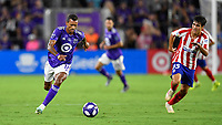 Orlando, FL - Wednesday July 31, 2019:  Nani #17, Manu Sánchez #35 during an Major League Soccer (MLS) All-Star match between the MLS All-Stars and Atletico Madrid at Exploria Stadium.