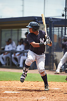 GCL Yankees East first baseman Nelson Alvarez (59) at bat during the second game of a doubleheader against the GCL Yankees West on July 19, 2017 at the Yankees Minor League Complex in Tampa, Florida.  GCL Yankees West defeated the GCL Yankees East 3-1.  (Mike Janes/Four Seam Images)