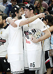 Real Madrid's Sergio Llull (l) and Andres Nocioni celebrate the victory in the Euroleague Final Match. May 15,2015. (ALTERPHOTOS/Acero)
