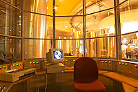 The winery, the control room with a computer and other technical equipment and  stainless steel fermentation tanks in a round building - Chateau Baron Pichon Longueville, Pauillac, Medoc, Bordeaux, Grand Cru