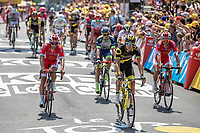Team Cofiidis Riders crossing the finish line.<br /> <br /> Stage 1: Noirmoutier-en-l'Île > Fontenay-le-Comte (189km)<br /> <br /> Le Grand Départ 2018<br /> 105th Tour de France 2018<br /> ©kramon