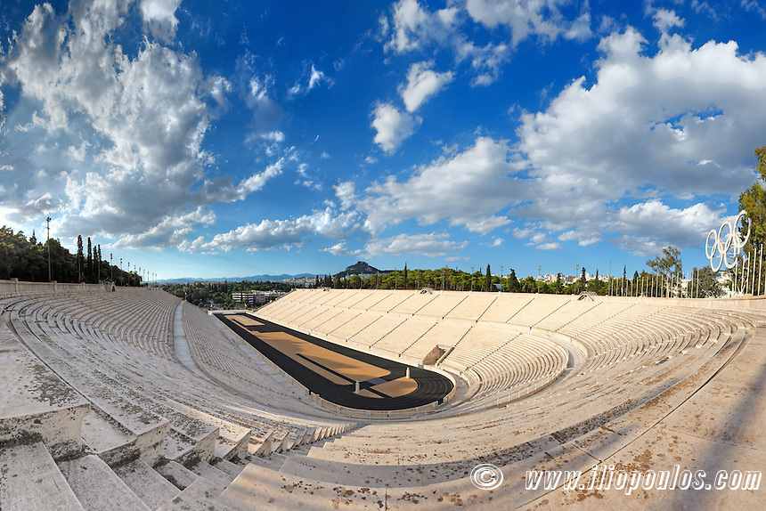 Panathenaic Stadium (329 B.C.) in Athens, hosted the first modern Olympic Games in Greece.