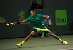 March 31 2017: Nick Kyrgios (AUS) loses to Roger Federer (SUI) 6-7, 7-6, 6-7 at the Miami Open being played at Crandon Park Tennis Center in Miami, Key Biscayne, Florida. ©Karla Kinne/tennisclix/EQ