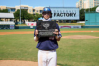 Marcelo Mayer (10) poses with the Kelly Kulina Award after the Baseball Factory All-Star Classic at Dr. Pepper Ballpark on October 4, 2020 in Frisco, Texas.  Marcelo Mayer (10), a resident of Chula Vista, California, attends Eastlake High School.  (Ken Murphy/Four Seam Images)