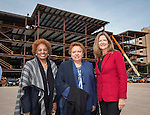 L-R: Charlesetta Deason, Agnes Perry and Linda Lazenby pose for a photograph at the site of the new DeBakey High School for Health Professionals, January 27, 2016.