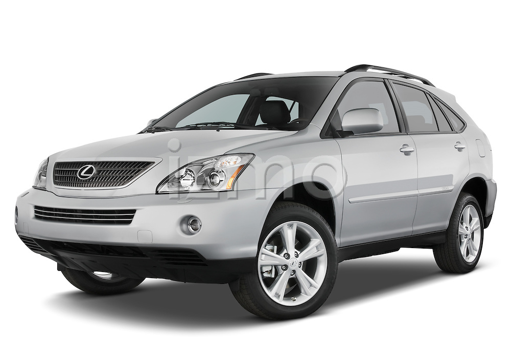 Low aggressive front three quarter view of a 2008 Lexus RX Hybrid.