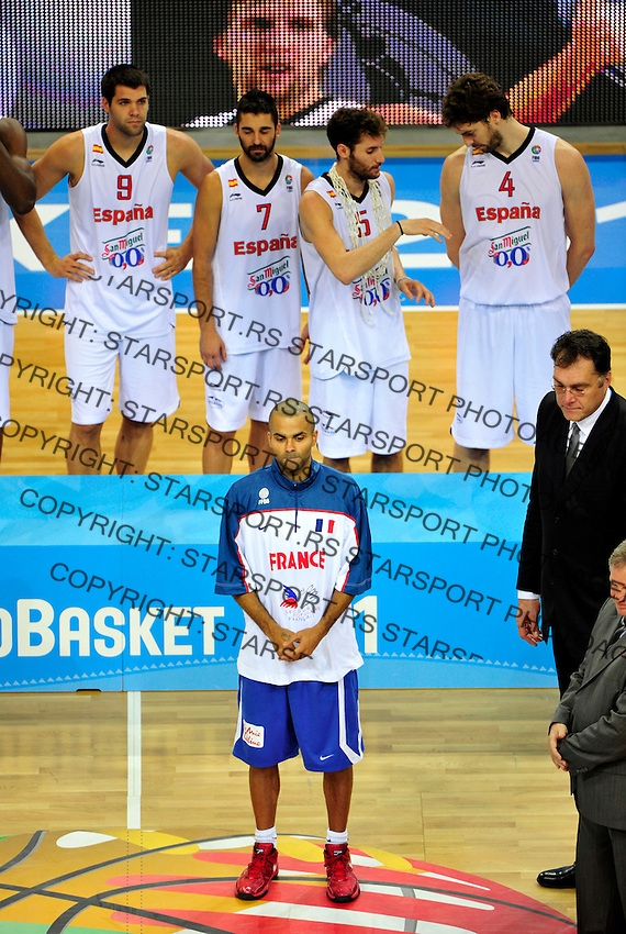 French national basketball player Tony Parker after final Eurobasket 2011 game between Spain and France in Kaunas, Lithuania, Sunday, September 18, 2011. (photo: Pedja Milosavljevic)