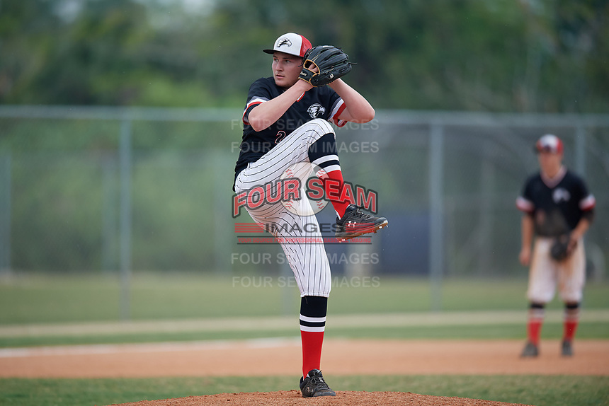 Edgewood Eagles relief pitcher Branden Cohn (23) during a game against the South Vermont Mountaineers on March 18, 2019 at Lee County Player Development Complex in Fort Myers, Florida.  South Vermont defeated Edgewood 19-6.  (Mike Janes/Four Seam Images)