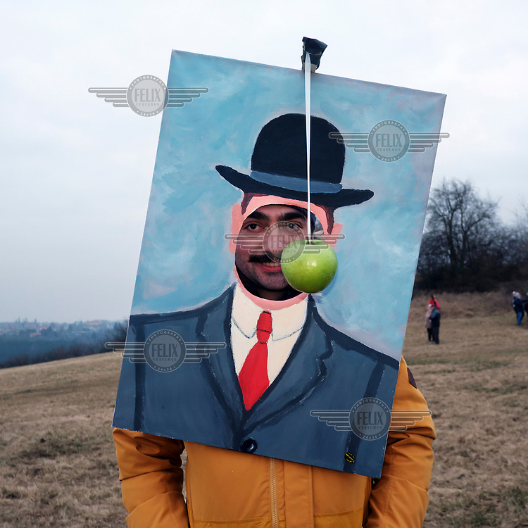 The Son of Man, one of the masks on the Holy vrch (Bare Hill) where processions from three towns meet  during Mardi Gras.
