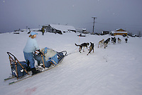 Dee Dee Jonrowe runs up the bank of the Yukon river as she arrives at the Kaltag checkpoint.  2005 Iditarod Trail Sled Dog Race.