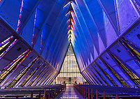 United States Air Force Academy Cadet Chapel, Colorado Springs, Colorado, USA.