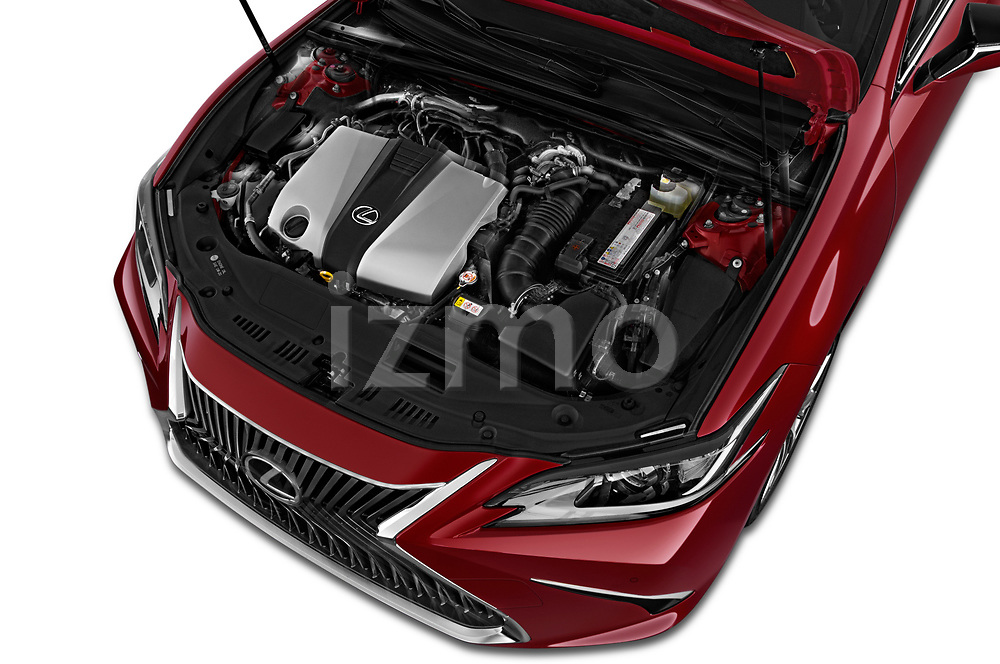 Car stock 2020 Lexus ES 350 4 Door Sedan engine high angle detail view