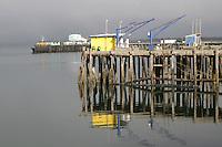 Colorful dock buildings in harbor Crescent City California