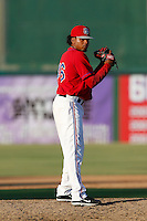 Eswarlin Jimenez #46 of the Inland Empire 66ers pitches against the Visalia Rawhide at San Manuel Stadium on August 11, 2013 in San Bernardino, California. Visalia defeated Inland Empire, 11-1. (Larry Goren/Four Seam Images)