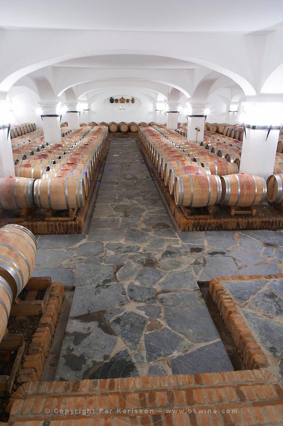 Oak barrel aging and fermentation cellar. J Portugal Ramos Vinhos, Estremoz, Alentejo, Portugal