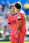 Real Sociedad's Sergio Canales (l) and Mikel Oyarzabal have words during La Liga match. October 29,2017. (ALTERPHOTOS/Acero)