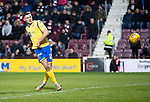 Hearts v St Johnstone…..14.12.19   Tynecastle   SPFL<br />Callum Hendry's shot is saved by Zdenek Zlamal<br />Picture by Graeme Hart.<br />Copyright Perthshire Picture Agency<br />Tel: 01738 623350  Mobile: 07990 594431