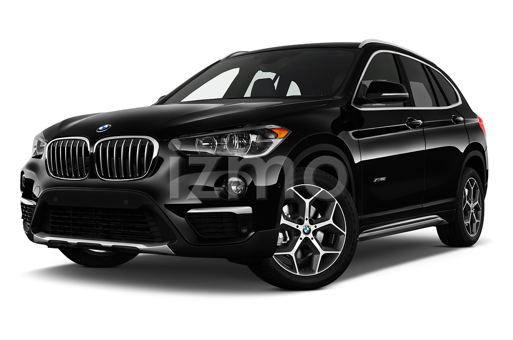 Stock pictures of low aggressive front three quarter view of a 2018 BMW X1 xDrive28i 5 Door SUV