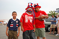 USA fans pose for a photo prior to the start of the match. The men's national teams of the United States and Argentina played to a 0-0 tie during an international friendly at Giants Stadium in East Rutherford, NJ, on June 8, 2008.