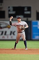 Fort Myers Miracle second baseman Travis Blankenhorn (7) throws to first base during a game against the Lakeland Flying Tigers on August 7, 2018 at Publix Field at Joker Marchant Stadium in Lakeland, Florida.  Fort Myers defeated Lakeland 5-0.  (Mike Janes/Four Seam Images)