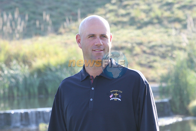 The 37th Ryder cup from Valhalla Golf Club in Louisville, Kentucky..Stewart Sink waiting for the Team Picture..Photo: Fran Caffrey/www.golffile.ie.