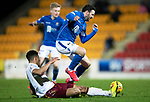 St Johnstone v Motherwell…..12.02.20   McDiarmid Park   SPFL<br />Drey Wright is tackled by Jake Carroll<br />Picture by Graeme Hart.<br />Copyright Perthshire Picture Agency<br />Tel: 01738 623350  Mobile: 07990 594431
