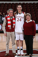14 February 2008: Locker sponsors with Ashley Cimino during Stanford's 69-46 win over Arizona at Maples Pavilion in Stanford, CA.