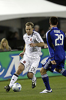 Ryan Pore of the Kansas City Wizards and Bryan Namoff of D.C. United. The Kansas City Wizards defeated D. C. United 2 - 0 during a Major League Soccer match at CommunityAmerica Ballpark in Kansas City, Kansas on March 29, 2008.