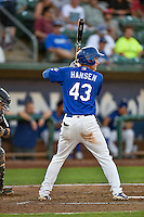 Mitchell Hansen (43) of the Ogden Raptors at bat against the Grand Junction Rockies in Pioneer League action at Lindquist Field on August 25, 2016 in Ogden, Utah. The Rockies defeated the Raptors 12-3. (Stephen Smith/Four Seam Images)