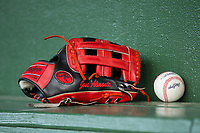 The glove of Hickory Crawdads outfielder Jose Almonte sits on the bench in the visitor's dugout prior to the game against the Kannapolis Intimidators at Kannapolis Intimidators Stadium on April 22, 2017 in Kannapolis, North Carolina.  The Intimidators defeated the Crawdads 10-9 in 12 innings.  (Brian Westerholt/Four Seam Images)