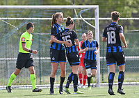 Charlotte Laridon (15) of Club Brugge  pictured celebrating after scoring a goal during a female soccer game between Club Brugge Dames YLA and Standard Femine de Liege on the seventh matchday in Play-Off 1 of the 2020 - 2021 season of Belgian Scooore Womens Super League , saturday 15 May 2021  in Brugge , Belgium . PHOTO SPORTPIX.BE   SPP   DAVID CATRY