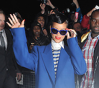 Rihanna seen leaving her hotel before she's due to switch the christmas lights on at Westfield shopping centre Stratford, London, UK 19/11/2012.<br /> <br /> (BlueStarImages/OIC/NortePhoto)