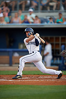 Charlotte Stone Crabs Tyler Frank (5) at bat during a Florida State League game against the Fort Myers Miracle on April 6, 2019 at Charlotte Sports Park in Port Charlotte, Florida.  Fort Myers defeated Charlotte 7-4.  (Mike Janes/Four Seam Images)