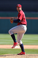 Lehigh Valley IronPigs pitcher Phillippe Aumont #45 delivers a pitch during a game against the Buffalo Bisons at Coca-Cola Field on April 19, 2012 in Buffalo, New York.  Lehigh Valley defeated Buffalo 8-4.  (Mike Janes/Four Seam Images)