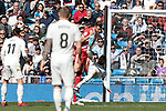 Real Madrid's Sergio Ramos and Girona FC's Alex Granell fight for the ball during La Liga match between Real Madrid and Girona FC at Santiago Bernabeu Stadium in Madrid, Spain. February 17, 2019. (ALTERPHOTOS/A. Perez Meca)