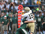 Wofford Terriers quarterback Michael Weimer (15) and Baylor Bears linebacker Bryce Hager (44) in action during the game between the Wofford Terriers and the Baylor Bears at the Floyd Casey Stadium in Waco, Texas. Baylor leads Woffard 38 to 0 at halftime.