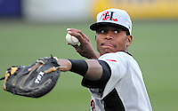 April 13, 2009: Catcher Leonel De Los Santos (2) of the Hickory Crawdads, Class A South Atlantic League affiliate of the Texas Rangers, in a game against the Greenville Drive at Fluor Field at the West End in Greenville, S.C. Photo by: Tom Priddy/Four Seam Images