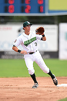Jamestown Jammers shortstop Michael Fransoso (3) waits for a throw during a game against the Mahoning Valley Scrappers on June 16, 2014 at Russell Diethrick Park in Jamestown, New York.  Mahoning Valley defeated Jamestown 2-1.  (Mike Janes/Four Seam Images)